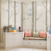 "Birch Tree with Birds Wall Decal - scheme B - 108"" (274 cm) Tall Trees - by Simple Shapes ®"