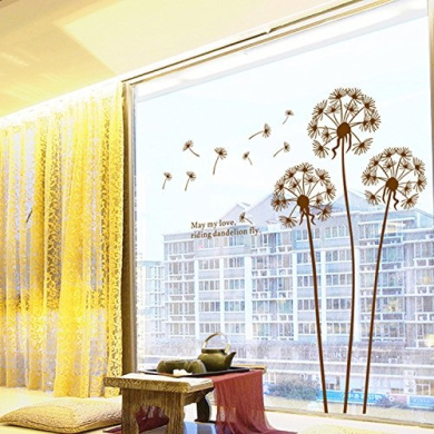 Wall Decor Stickers Dandelion Removable Mural PVC Wall Art Decals Wallpaper Home Decal Sticker Black Size 19.7*70cm