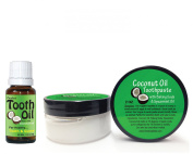 Coconut Oil Toothaste and Tooth Oil Kit for Natural Teeth and Gum Care