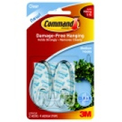 Command Medium Clear Hook With 4 Adhesive Strips - 0.9kg. - Pack 2