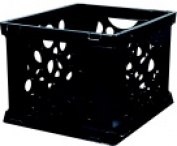 Storex Mini Stackable Storage Crate - Black