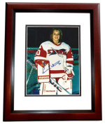 20cm x 25cm . Erin Whiten Autographed Storm Photo Female Goalie Mahogany Custom Frame