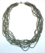 Best Desu 17366 Multii Strands Metallic Black Crystal Necklace