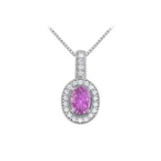 Fine Jewellery Vault UBNPD32339AGOV75CZAM Fancy Oval Amethyst and Cubic Zirconia Halo Pendant in 925 Sterling Silver