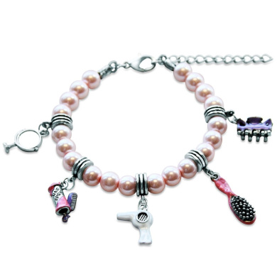 Whimsical Gifts 1403S-BR Beautician Charm Bracelet In Silver