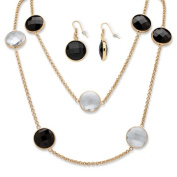 PalmBeach Jewellery 55420 Round Checkerboard-Cut Black And White Crystal Station Necklace And Earrings Set In Gold Tone