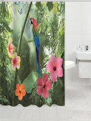 Parrot & Nature Pattern Shower Curtain Bathroom Waterproof Fabric 180cm