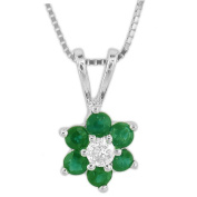 Luis Creations PRL1301ED 0.37 Ct. Flower Cluster Diamond And Emerald Pendant In 14K Gold