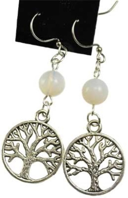 AzureGreen JETOPA Opalite Tree Of Life Earrings
