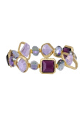 In Things 606436 Matte Gold Stretch Bracelet Amethyst
