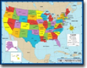 CARSON DELLOSA CD-6333 CHARTLET MAP OF THE UNITED STATES 17 x 22
