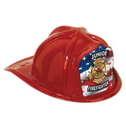 Beistle 66777-1 Red Plastic Flag Shield Jr Firefighter Hat Pack Of 48