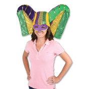 Beistle 60847 Masked Mardi Gras Hat With Sequined Drape Pack Of 6