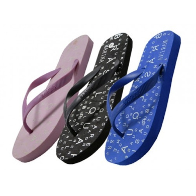 Easy USA S1230-L Lady Letter Printed Flip Flop 48 Pairs