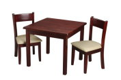 Childrens Square Cherry Table with 2 matching Off White Upholstered Chairs