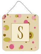 Carolines Treasures CJ1004-SDS66 Letter S Initial Monogram - Tan Dots Aluminium Metal Wall or Door Hanging Prints