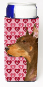 Carolines Treasures SS4468MUK Doberman Hearts Love And Valentines Day Portrait Michelob Ultra bottle sleeves For Slim Cans - 350ml