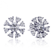 11.5mm 14K White Gold Round CZ Snow Flake Stud Earrings, Rhodium Plated