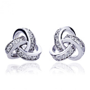 Rhodium Plated Sterling Silver CZ Celtic Love Knot Stud Earring