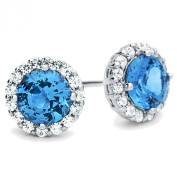 Rhodium Plated Sterling Silver Round Blue Cubic Zirconia Halo Stud Earrings