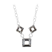 Sterling Silver Square Vitrail Silver Colour. Elements Necklace 41cm