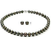"""14k White Gold 8.5-11mm Black Round South Sea Tahitian Cultured Pearl Necklace & Stud Earrings, 18"""""""