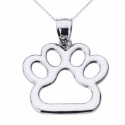Polished 925 Sterling Silver Dog Paw Print Pendant Necklace