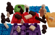 Lego Chocolate and Candy Moulds, 6pc Deluxe Set of Various Sized Bricks and Lego Men / Robots, for Gummies, Hard Candy and More W Recipe and Idea Booklet, 100% Premium Food Grade Silicone By Happy Cook