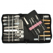 KINGSO 46PCS Vegatable Food Fruit Culinary Kitchen Carving Tool Kit Sculpting Modelling Tool Set with Bag Storage Case