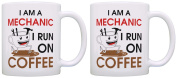 Mechanic Gifts I am a Mechanic I Run on Coffee Coworker 2 Pack Gift Coffee Mugs Tea Cups White