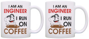 Engineering Gifts I am an Engineer I Run on Coffee Coworker 2 Pack Gift Coffee Mugs Tea Cups White