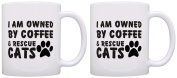 Cat Lover Gift Owned by Coffee and Rescue Cats Coworker 2 Pack Gift Coffee Mugs Tea Cups White