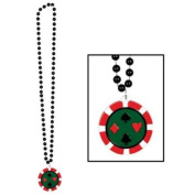 Beistle 50454 - Beads With Poker Chip Medallion - 90cm - Pack of 12