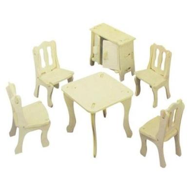 Children Intelligence Dining Room Model DIY Assemble 3D Wooden Jigsaw Toy