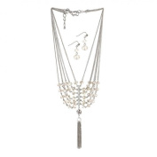 Breezy Couture Black Crystal Tassel Necklace And Earrings Jewellery Set