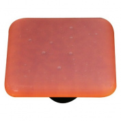 Hot Knobs HK9052-KB Opaline Burnt Orange Square Glass Cabinet Knob - Black Post