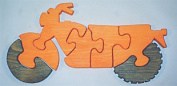 THE PUZZLE-MAN TOYS W-1182 Wooden Educational Jig Saw Puzzle - Motorcycle