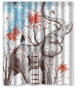 Elephant Long Nose 150cm (w) x 180cm (h) Bath Shower Curtain