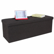 SONGMICS Linen-like Folding Storage Ottoman Bench Foot Rest Stool Espresso ULOT70K