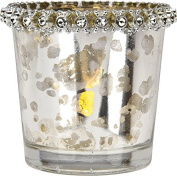 Luna Bazaar Candle Holder (6.4cm , Tapered with Rhinestones, Silver Mercury Glass) - For Home Decor and Wedding Decorations - For Use with Tea Light Candles