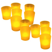 BlueDot Trading LED Tea Light Votive Candles, Amber, 12-Pack