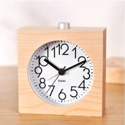 WAYCOM Exquisite Square Silent Mute Table Snoose Small Wood Alarm Clock with Nightlight