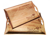 The Do What You Love Serving Tray Set of 2 Larger 16 1/2 X 30cm X 6.4cm , the Smaller 15 1/2 X 10 1/2 X 2 ½ Inches By Whole House Worlds