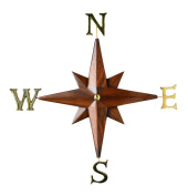 Compass Rose Nautical Decor Wall Decoration with Detachable Solid Brass Cardinal Point Letters