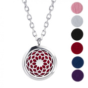 Premium Aromatherapy Essential Oil Diffuser Necklace Sunflower Locket Pendant, Hypo-allergenic 316L Surgical Grade Stainless Steel Jewellery with 60cm Chain and 6 Washable Pads