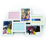 * Sale * Stylish White 6 Opening 3- 4x6 and 3-5x3.5 Wall Hanging Collage Picture Frame, Artistic 3D Puzzle Style, Perfect for Family, Friends, or Travel Photos
