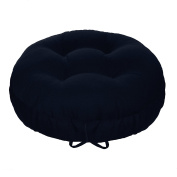 33cm Round Barstool Cushion with Drawstring Yoke - Solid Colour Navy Blue Cotton Duck Canvas - Latex Foam Fill - Adjustable Bar Stool Pad