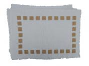 Gitika Goyal Home Cotton Khadi Gold Screen Printed 12x17 Mat Side Squares Design (Set of 4), Cream