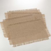 Natural Colour Fringed Jute Placemat, 33cm by 48cm Rectangular, Set of 4.