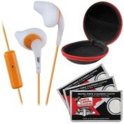 JVC HA-ENR15 Gumy Sport Headphones with Remote & Mic (White) with Case & 3 Microfiber Cloths